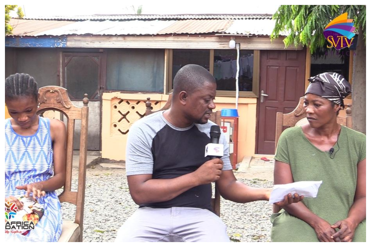 Woman Whose Daughter Dropped Out Of School & Will Burnt By Family Receives 7,000gh Through SVTV Africa Foundation